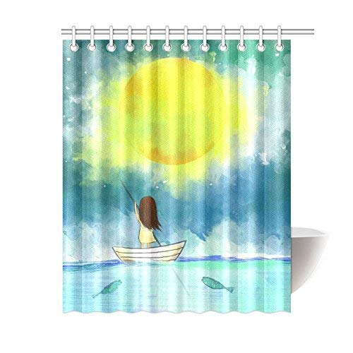 Sail Shower DecorDrawing Hooks Inches of Girl Bathroom 72 Polyester Curtain Ocean Fishes Home Sets Moon 69 X Sea Lonely Haloxa Full Boat Fabric with wPkn0O
