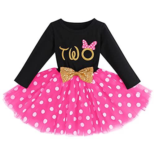 FYMNSI Vestido de manga larga para bebé, para niña, vestido de manga larga, vestido de tul, vestido de princesa, vestido de fiesta para sesión de fotos Negro + Rose - Two 2 Años