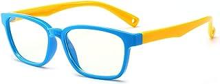 Kids Anti-blue Light Glasses Flat Mirror Rubber Flexible Goggles Soft Frame Kids Nerd Clear Lens Geek Fake Children Glasse...