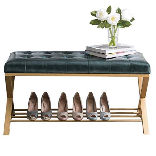 DXMRWJ Banco de Zapatos otomano Moderno de Metal con Asiento de Cuero Acolchado con botón, Zapatero Vintage Zapatero Decorativo para Entrada, Pasillo, Sala de Estar (tamaño: 60 cm (23,6 Pulgadas))