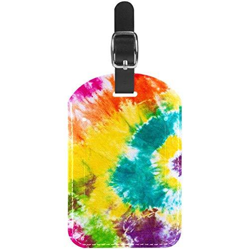 Etiquetas para Equipaje Etiquetas para Maletas de Viaje de Cuero con Efecto teñido Anudado arcoíris, 1 Paquete