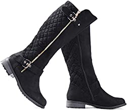LUSTHAVE Women's Knee High Boots - Winkle Back Shaft - Side Quilted Zipper - Flat Accent Riding Boot