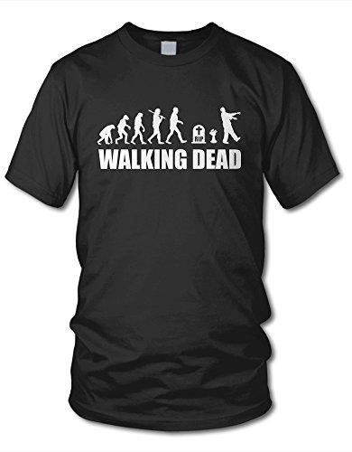 shirtloge - Evolution Walking Dead - Kult - Fun T-Shirt - Schwarz (Weiß) - Größe M