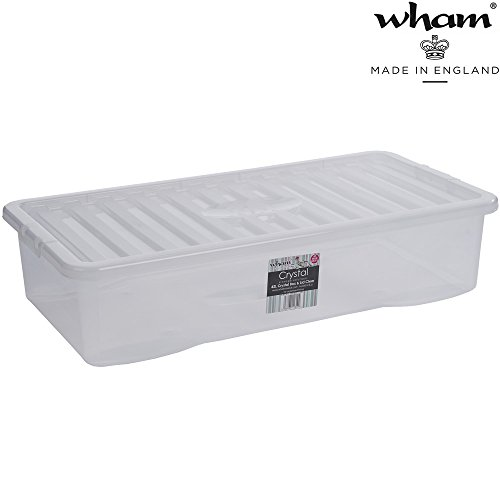 Unterbettbox mit Deckel transparent 42 L Stapelbar 80x40 cm Lebensmittelecht Aufbewahrungs Box Unterbett Kiste Multifunktion Unterbettkommode Kunststoff Behälter Lebensmittelecht Plastik Stapelkiste