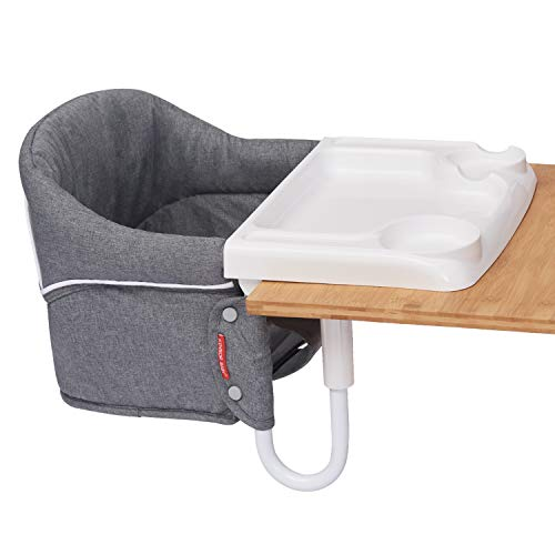 Kinbor Baby Hook On High Chair Fast Table Chair Fold Flat Baby Feeding Seat and Tight Fixing Clip on Table High Chair with Removable Tray and Carry Bag Grey