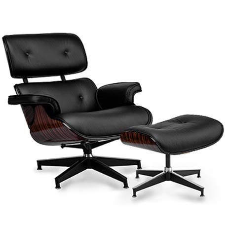 furnigo | Designer Sessel und Fußstütze, Premium Italian Leather, Reproduktion, Zeitlos, Szwarz und Weiß Farben, Reproduktion, Zeitlos (szwarz/Ebony)