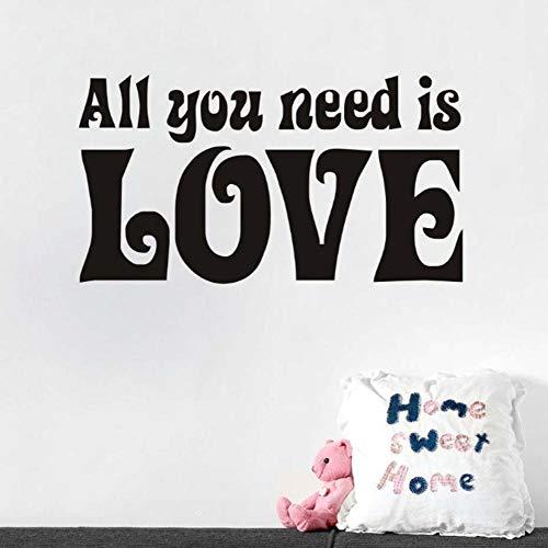 Muursticker huisdecoratie voor woonkamer muurschilderingen Vinyl Art muurstickers lijm alles wat je nodig hebt is liefde 31x57cm