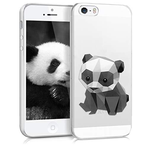 kwmobile Coque Compatible avec Apple iPhone Se (1.Gen 2016) / 5 / 5S - Housse Protectrice pour Téléphone en Silicone Panda géométrique Noir-Blanc-Transparent