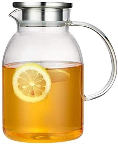 Jarra de cristal con tapa y asa de borosilicato, resistente al calor, para té, agua fría y caliente, vino, café, leche y jugo, jarra con boquilla