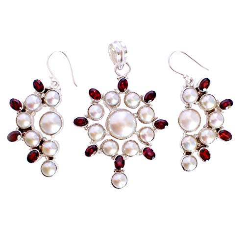 Pearl & Red garnet Gemstone 925 Solid Sterling Silver Pendant & Earrings Set Gorgeous Handmade Jewelry,For Girls FSJ-5302