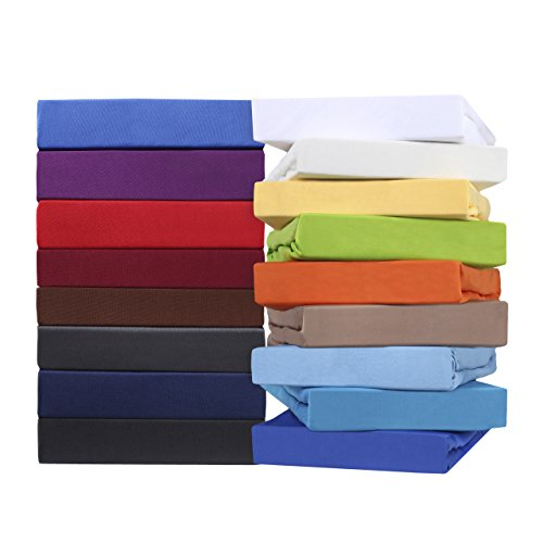leevitex Comfort WASSERBETT & BOXSPRINGBETT SPANNBETTLAKEN | Spannbetttuch | BETTLAKEN | 100% Mako-Jersey-Baumwolle | ÖKO-TEX | 170g/m² | 40 cm Steg | 90 x 200 - 100 x 220 cm | Weiß