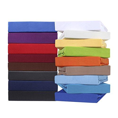 leevitex Comfort WASSERBETT & BOXSPRINGBETT SPANNBETTLAKEN | Spannbetttuch | BETTLAKEN | 100% Mako-Jersey-Baumwolle | ÖKO-TEX | 170g/m² | 40 cm Steg | 180 x 200 - 200 x 220 cm | Pink/Magenta