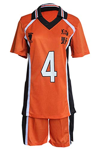 Manfis Haikyuu Karasuno High School Nishinoya Yū Nr.4 Trikots Costume Jersey Sportswear Volleyball Uniform Cosplay Kostüme Outfit