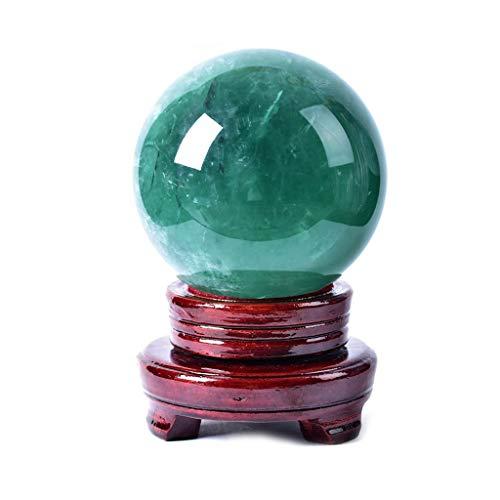 Bola de cristal de adivinación mirando Cristal verde natural Meditación adivinación esfera de cristal soporte de la bola con la madera, de 3,1 pulgadas (80 mm) Diámetro Feng Shui y bola de adivinación