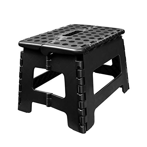Usmascot NonSlip Folding Step Stool Sturdy Safe Enough  Holds up to 350 Lb  9 inch Footstool for Adults or Kids Folding Ladder Storage/Opens Easy for KitchenToiletCamping ect Black M