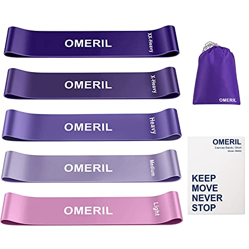 OMERIL Resistance Bands for Women, Exercise Bands for Working Out with Instruction Guide and Carry Bag, Stretch Bands Loops for Fitness Home Gym