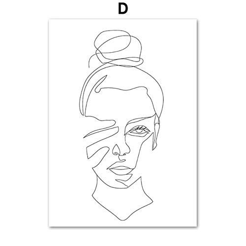 Zwart wit lijn liefde kus meisje hand muur canvas schilderij nordic posters en prints muur foto's voor de woonkamer home decor, d, a4 21x30cm geen ingelijst