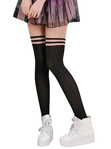 homedecoam Damen Feinstrumpfhose Strumpfhose mit Overknees Muster Tights Leggings One Size(S/M)