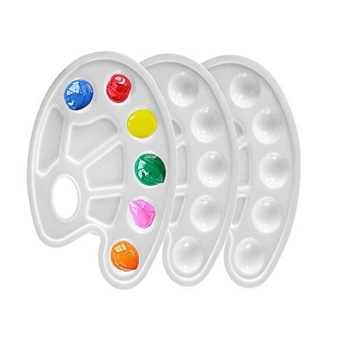 Paleta de pintura de plástico Tangser, paleta de pintura al óleo, paleta de mezcla de agua, 10 mechones con agujero para el pulgar, para pintura de niños (3 piezas)