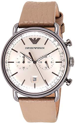 Emporio Armani Herren Analog Quarz Uhr mit Leder Armband AR11107