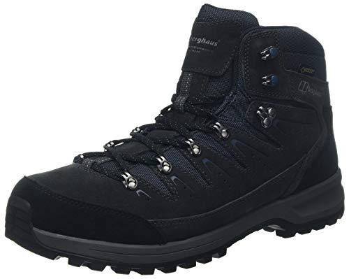 Berghaus Explorer Trek Gore-Tex Tech, Chaussures de Randonnée Hautes Hommes, Gris (Carbon/Blue Cs8), 40.5 EU