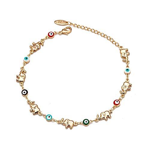 Elefante multicolor Evil Eye Charm Bracelet Cobre Pulsera de cadena de color dorado ajustable para mujeres niñas joyería