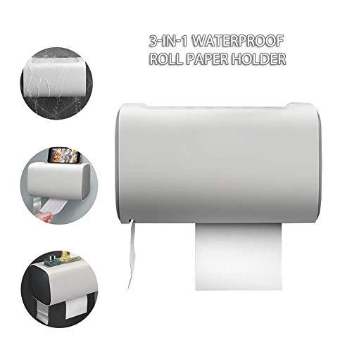 Dispensadores de Papel Higiénico de Gran Capacidad, 3 En 1 Soporte de Papel Higiénico A Prueba de Agua Dispensador de Toallas de Papel para Montaje en Pared para Cocina, Baño - 8.7x5.5x5.3 Pulgadas