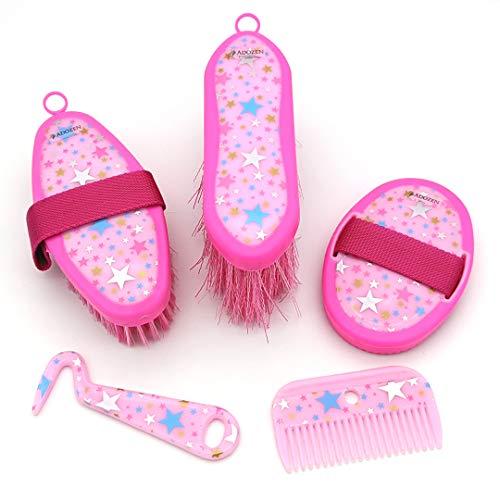 Adozen Pferdeputzzeug für Kinder | 5-Teilig | Soft Touch Antirutsch | Rosa mit Sternchen