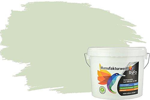 RyFo Colors Bunte Wandfarbe Manufakturweiß Hellminze 6l - weitere Grün Farbtöne und Größen erhältlich, Deckkraft Klasse 1, Nassabrieb Klasse 1