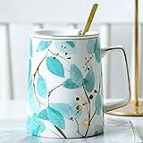 MAOS Tazze di tè della Tazza di caffè di Ceramica Tazza dell'Acqua con Coperchio Cucchiaio Student Tazza Domestica (Color : Green)