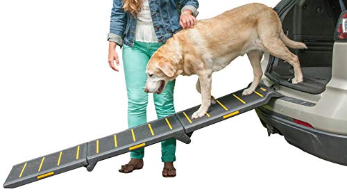 Pet Gear Tri-Fold Ramp 71 Inch Long Extra Wide Portable Pet Ramp for Dogs/Cats up to 200lbs, Patented Compact/Easy Fold with Safety Tether, Black/Yellow(Reflective) Extra Wide, Extra Wide, Tri Fold