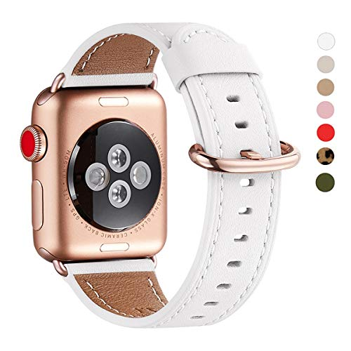 WFEAGL Compatible iWatch Band 42mm 44mm,Top Grain Leather Band with RoseGold Adapter(The Same as Series 5/4/3 with Gold Aluminum Case in Color)for iWatch SE & Series 6/5 /4/3/2/1(White Band+RoseGold A