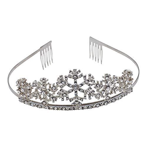 Lux Accessories Christmas Silver Tone Snowflakes Crystal Rhinestones Hair Princess Tiara