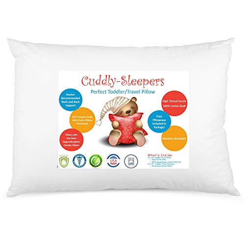 """Digital Decor Toddler Pillow - 100% Cotton Hypoallergenic Outer Fabric - Made in USA Baby Pillow Perfect for Sleeping in Daycare Preschool, Portable Travel Pillow for Neck Head and Spine - 13""""x18"""""""