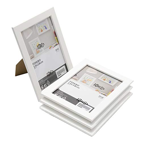 Ikea, Fiskbo Bilderrahmen, 13 x 18 cm, weiß, 4 Stück