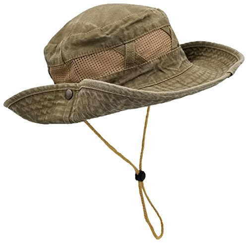 Outdoor Summer Boonie Hat for Hiking, Camping, Fishing, Operator Floppy Military Camo Sun Cap for Men or Women (Olive (Mesh Strip))