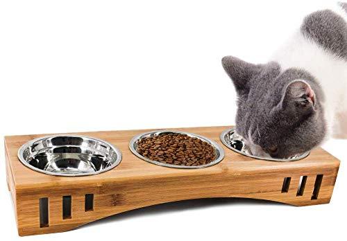 Petsoigné Katzennäpfe Hundenapf Katzenschüssel Set Keramik mit Bambus Unterstützung Für Katzen und Welpen (3 Näpfe, Edelstahl)