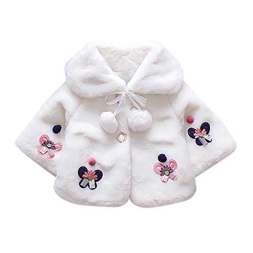 RuiyouQQ Baby Mädchen Mantel Dreiviertel Hülse Winterjacke Fell Warm Winter Kleinkinder Warm Kleidung (Weiß, 0-6 Monate)