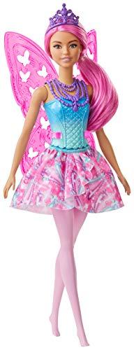 Barbie GJJ99 - Dreamtopia Fee, Puppe (pinkes Haar) mit Flügeln und Diadem, Spielzeug ab 3 Jahren