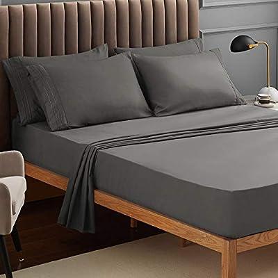 VEEYOO King Size Bed Sheet - Sliver Fitted Sheets Set Deep Pocket, Luxury 1800 Brushed Microfiber Bed Set Extra Soft, Wrinkle, Fade, Stain Resistant, Breathable, Hypoallergenic - 4 Piece, Sliver