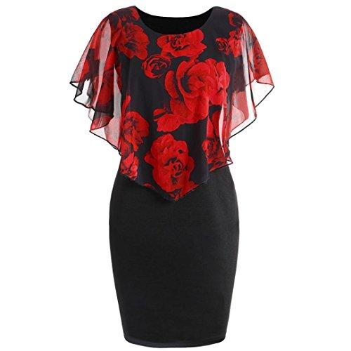 Styledress Sommerkleider Damen Elegant Minikleid Übergröße Kleid Chiffon-Kleid mit Rosenmuster Cocktailkleider Frauen Hohle Kleider Strandkleid Kleidung Maxikleid (rot, 5XL)