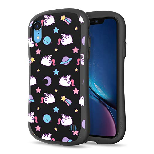 iFace x Pusheen First Class Designed for iPhone XR – Cute Shockproof Dual Layer [Hard Shell + Bumper] Case [Drop Tested] - Pusheen Pattern (Black)