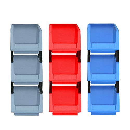 YOFASEN Caja Plastico - 9 Piezas Durable Gavetas de Almacenaje Ensamblado Gaveta Apilable, 9Pcs/Azúl+Rojo+Gris, X0