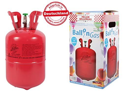 Falkenheyn Gratis Bügelpatch mit PartyFactory Heliumgasflasche Heliumgas Ballons Helium Flasche Gasflasche Balloon Gas Ballongas Einweg (für ca. 30 Ballons)
