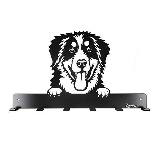 Laperino Perchero de Perro de Berna, Elegante y práctico, XL, 450 mm de Ancho, Perchero de Lino (Perro de Carnero de Cereza)