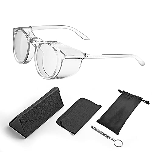 MATHARAGO Safety Glasses, Transparent Safety Goggles Protective Eyewear, Safety Glasses for Men, Women and Nurse Eye Protection, with Small Eyeglass Screwdriver