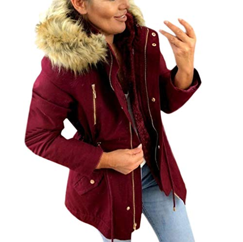 SANFASHION Damen Coat Mode Winter Warm Dick Brushed Zipped Hoodies Kapuzenjacke Military Winterjacke Kunstpelz Mantel Outwear