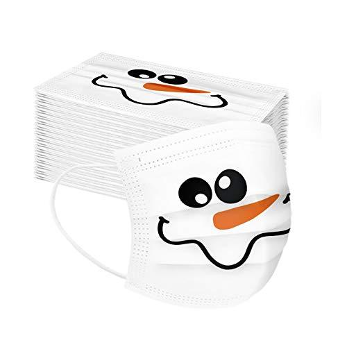 50-stück Weihnachten mundschutz,Schneemann Drucken mundschutz einweg,Einweg Mund-nasenschutz,mundschutz Erwachsene, kaufen,Atmungsaktive komfortable elastische Ohrmuscheln Gesichtsschutz (snow-50pc)