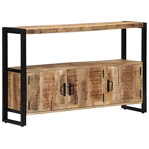 UnfadeMemory Aparador Comedor,Aparador para Salon,con 3 Puertas y 1 Compartimento,Estilo Vintage y Industrial,Madera Maciza de Mango,120x30x75cm