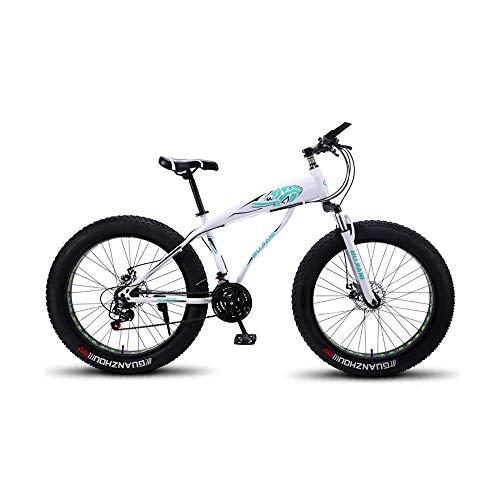 GYZLZZB Hollow Rim Cross-Country Beach Snowmobile 26' Mountain Bikes,7 Speed Bicycle,Adult Fat Tire Mountain Trail Bike,Aluminium Alloy Frame Dual Full Suspension Dual Disc Brake(White and Blue)